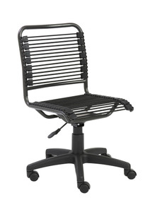 Bungie Low Back Desk Chair with Breathable Bungee by Euro Style, in Black with Graphite Black Frame and Black Base
