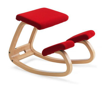 Variable Balans 1000 Varier Original Kneeling Chair Natural Ash - Red