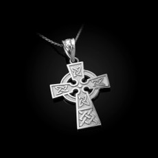Celtic Cross Charm Necklace in Sterling Silver