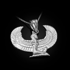 Sterling Silver Egyptian Isis Winged Goddess Pendant Necklace