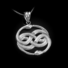 Sterling Silver Double Infinity Ouroboros Snakes Pendant Necklace