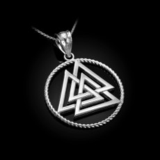Sterling Silver Viking Valknut Pendant Necklace