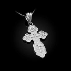 Sterling Silver Eastern Orthodox Cross Pendant Necklace