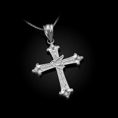 Sterling Silver Holy Spirit Dove Cross Diamond Pendant Necklace