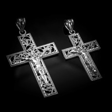 Sterling Silver Filigree Crucifix Cross DC Pendant (S/L)