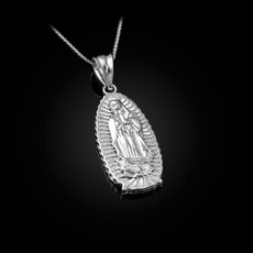 Sterling Silver Our Lady of Guadalupe Virgin Mary Pendant Necklace