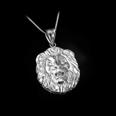 Sterling Silver Lion Face DC Pendant Necklace