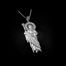 Sterling Silver St. Jude CZ Pendant Necklace