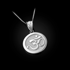 Sterling Silver Om Medallion Charm Necklace