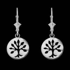 Sterling Silver Tree of Life Leverback Earrings