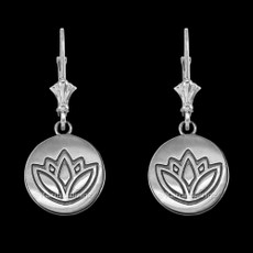 Sterling Silver Lotus Leverback Earrings