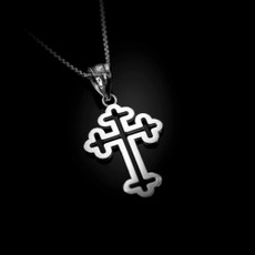 Sterling Silver Christian Apostolic Open Cross Pendant Necklace