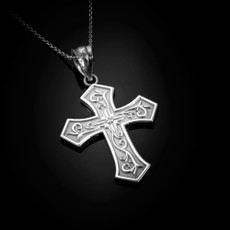 Sterling Silver Christian Passion CZ Cross Pendant Necklace