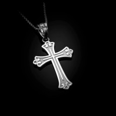 Sterling Silver  Fleur de lis Cross Religious Pendant Necklace