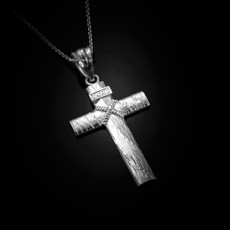 Sterling Silver  Woodgrain Rope Cross Pendant Necklace