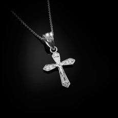 Sterling Silver Crucifix Cross Diamond Charm Necklace