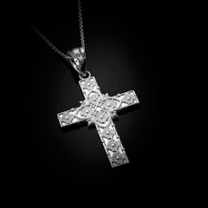 Sterling Silver  Floral Cross Pendant Necklace