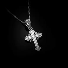 Sterling Silver Filigree Cross Charm Necklace