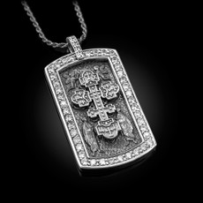 Sterling Silver Eastern Orthodox Cross Dog Tag CZ Pendant Necklace