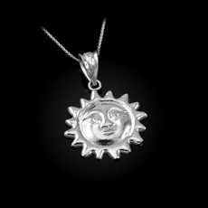 Sterling Silver Sun Face Celestial Pendant Necklace