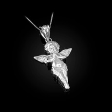 Sterling Silver Polished Angel Pendant Necklace