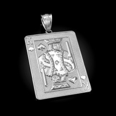 Sterling Silver King of Spades Poker Card Hip Hop Pendant