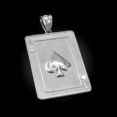 Sterling Silver Ace of Spades Poker Card Hip Hop Pendant