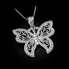 Sterling Silver Filigree Butterfly Midsize Pendant Necklace
