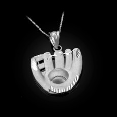 Sterling Silver Satin DC Baseball Glove Pendant Necklace
