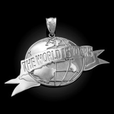 Sterling Silver THE WORLD IS YOURS Pendant