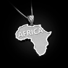 Africa Map Sterling Silver Pendant Necklace