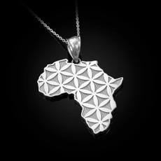 Sterling Silver Africa Map Flower of Life  Pendant Necklace