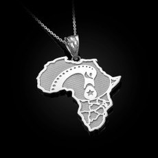 Sterling Silver Africa Map Adinkra Sankofa Pendant Necklace