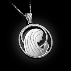 Sterling Silver Virgin Mary Silhouette Pendant Necklace