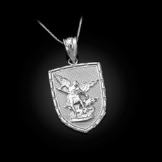 Sterling Silver St. Michael Shield Pendant Necklace