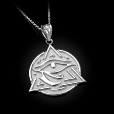 Sterling Silver Eye of Horus Illuminati Pendant Necklace