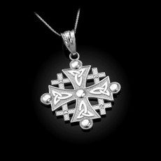 Sterling Silver Jerusalem Cross CZ Charm Pendant Necklace