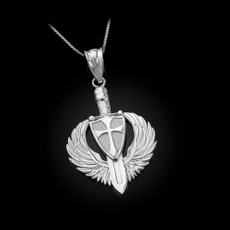 Sterling Silver Crusader Winged Sword and Shield Pendant Necklace