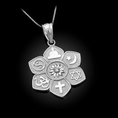 Sterling Silver Lotus of Peace CZ Pendant Necklace