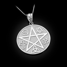 Sterling Silver Multicultural Pentacle Medallion Pendant Necklace