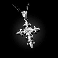 Sterling Silver Fleur de Lis Cross Pendant Necklace