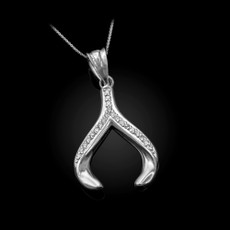 Sterling Silver CZ Wishbone Pendant Necklace
