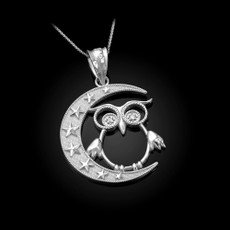 Sterling Silver Night Owl CZ Pendant Necklace
