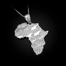 Silver African Elephants Necklace