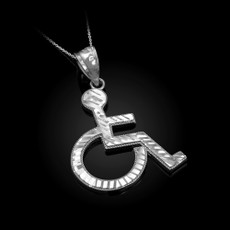 Sterling Silver Handicap Sign Wheelchair Emoji DC Pendant Necklace