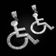 Sterling Silver Handicap Sign Wheelchair Emoji DC Pendant (Small / Large)