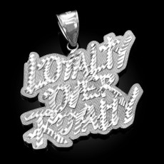 Sterling Silver LOYALTY OVER ROYALTY Hip-Hop DC Pendant