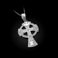 Celtic Cross Pendant Necklace in Sterling Silver