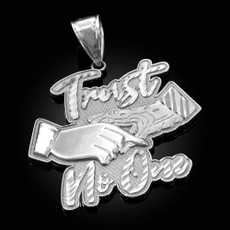 Sterling Silver TRUST NO ONE Hip-Hop Pendant