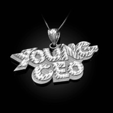 YOUNG CEO Sterling Silver DC Pendant Necklace